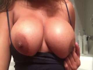 my bbw wife showering her hairy pussy, big ass, tits
