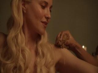 Jenny McClain oils up her big 36F tits in sauna